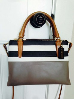 Coach Semi-Annual Sale: The Mini Borough Bag in Bar Stripe Leather