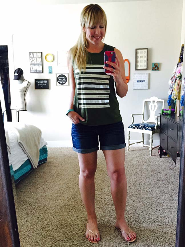 J.Crew Foil Striped Tank Top Outfit